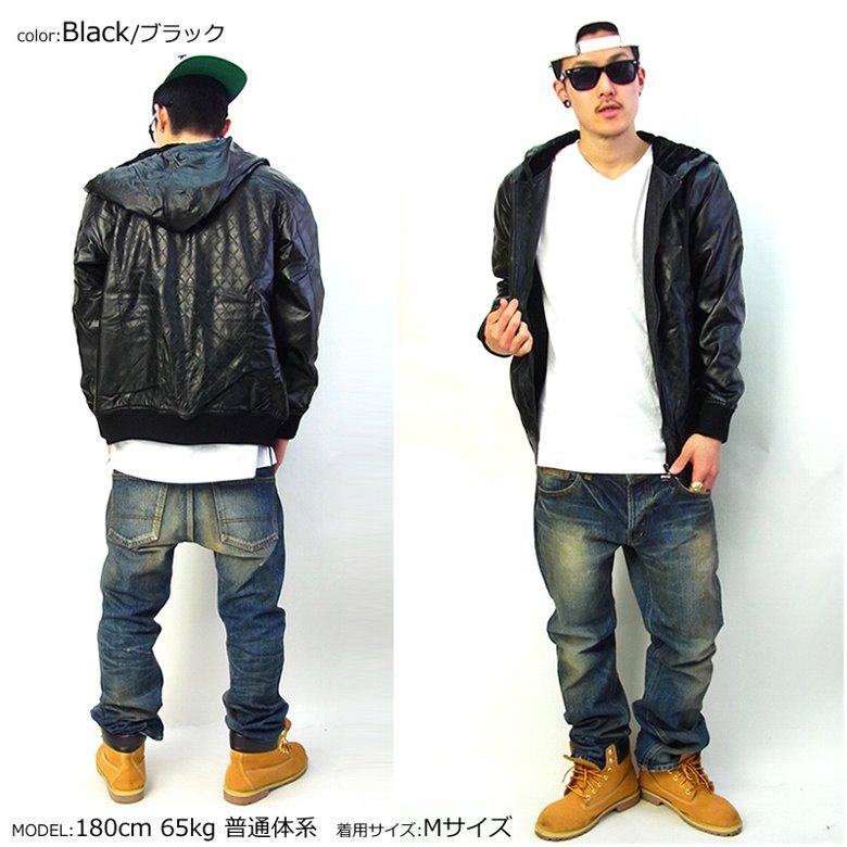 D.O.P ディーオーピー ジャケット メンズ キルティング PUレザー ヒップホップ B系 ストリート系 LA ファッション