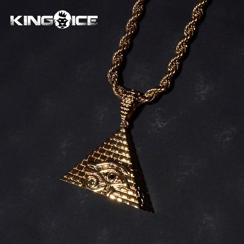Kingice all seeing eye pyramid kingice 18k 18k gold all seeing eye pyramid pendant mozeypictures Gallery